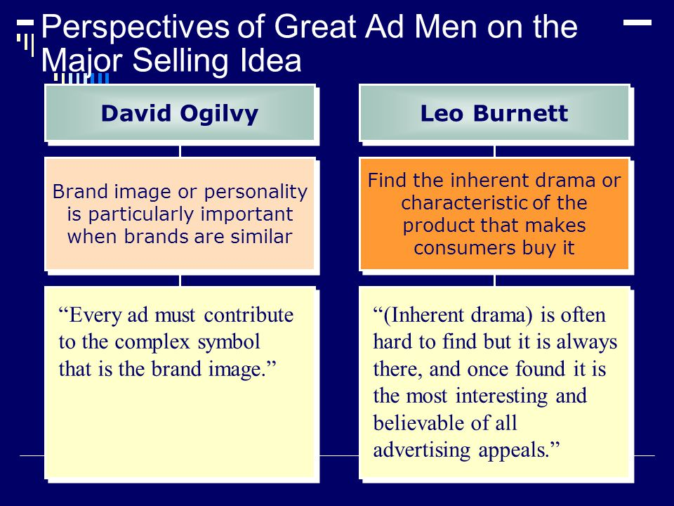 Perspectives of Great Ad Men on the Major Selling Idea