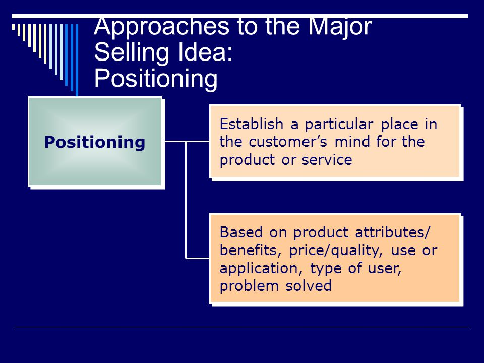 Approaches to the Major Selling Idea: Positioning