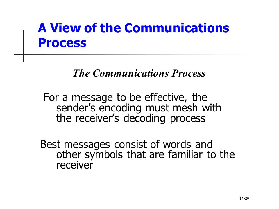 A View of the Communications Process