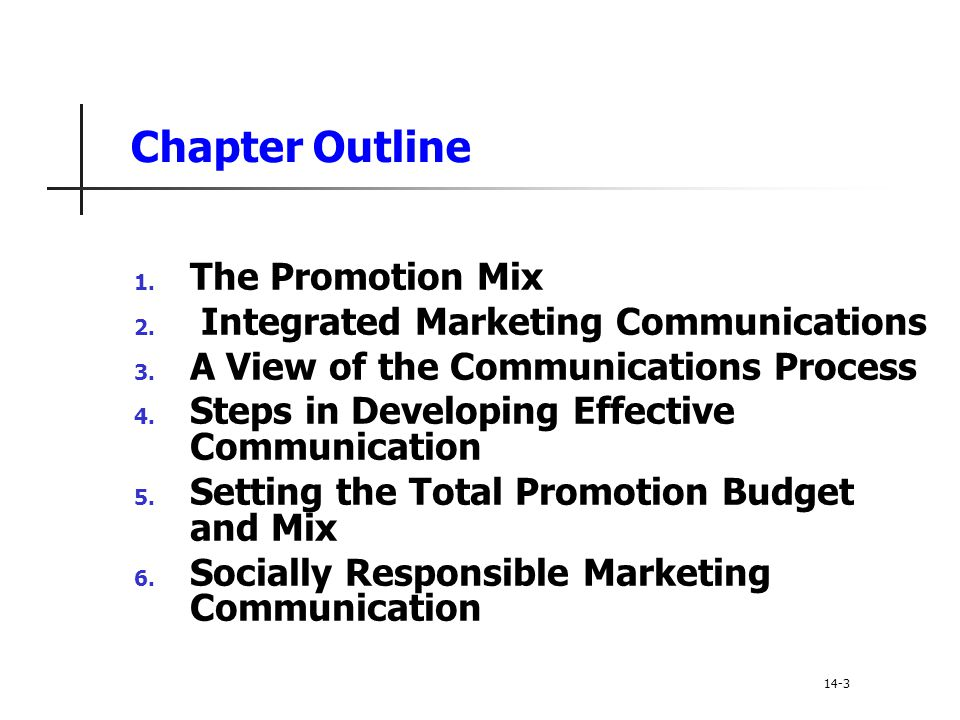 Chapter Outline The Promotion Mix Integrated Marketing Communications
