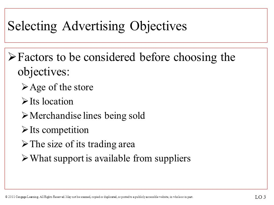 Selecting Advertising Objectives