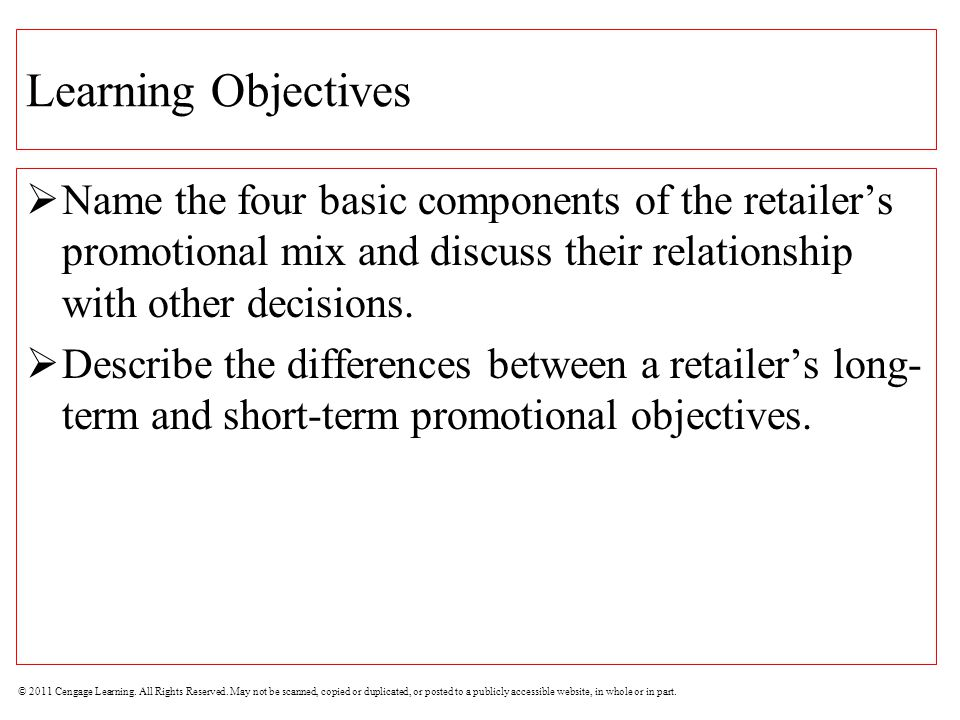 Learning Objectives Name the four basic components of the retailer's promotional mix and discuss their relationship with other decisions.