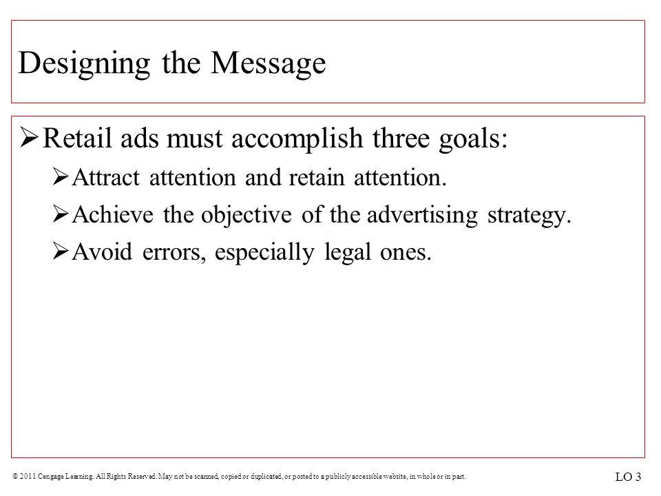 Designing the Message Retail ads must accomplish three goals: