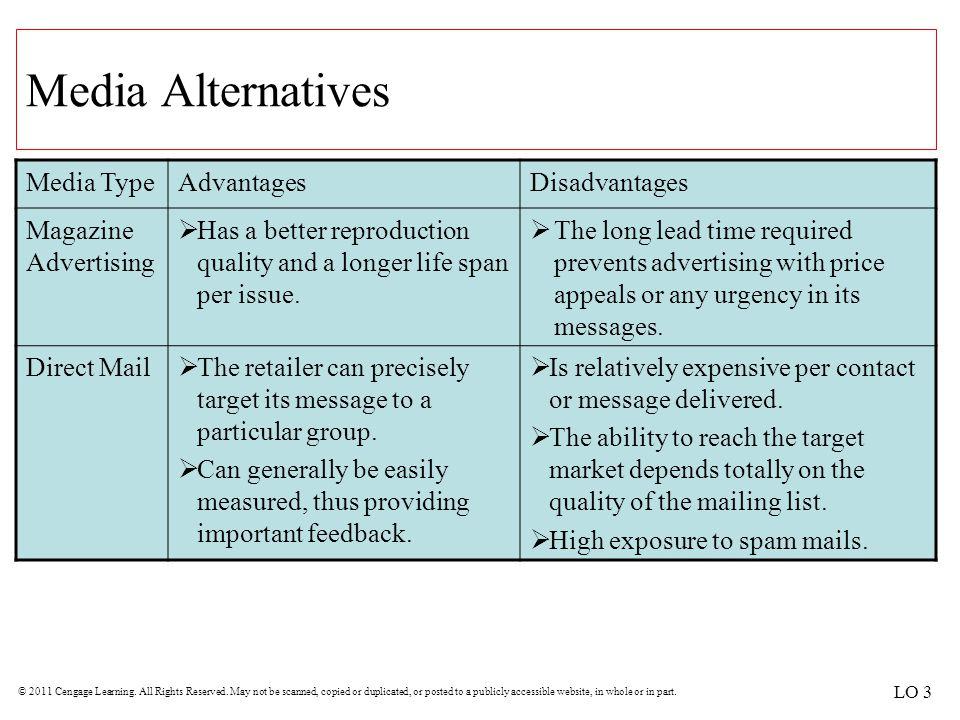 Media Alternatives Media Type Advantages Disadvantages