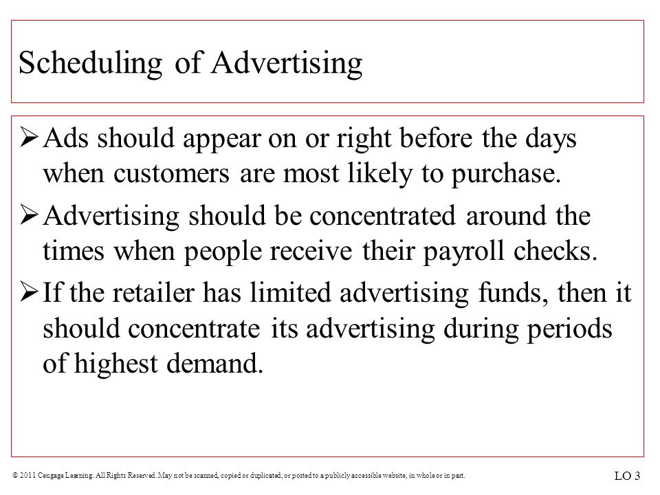 Scheduling of Advertising