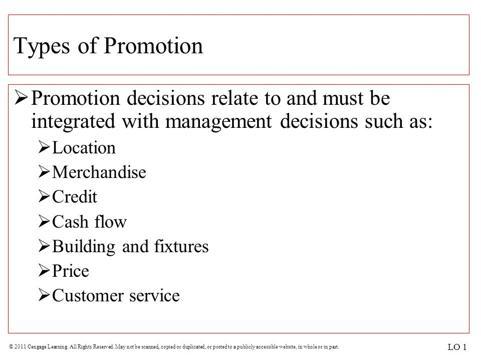 Types of Promotion Promotion decisions relate to and must be integrated with management decisions such as: