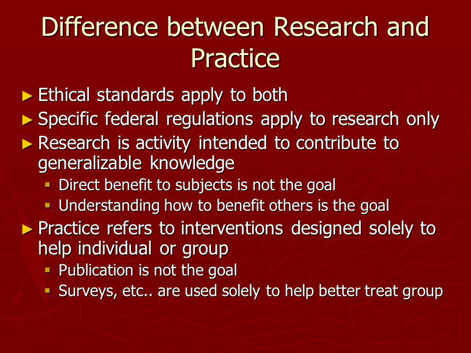 Difference between Research and Practice
