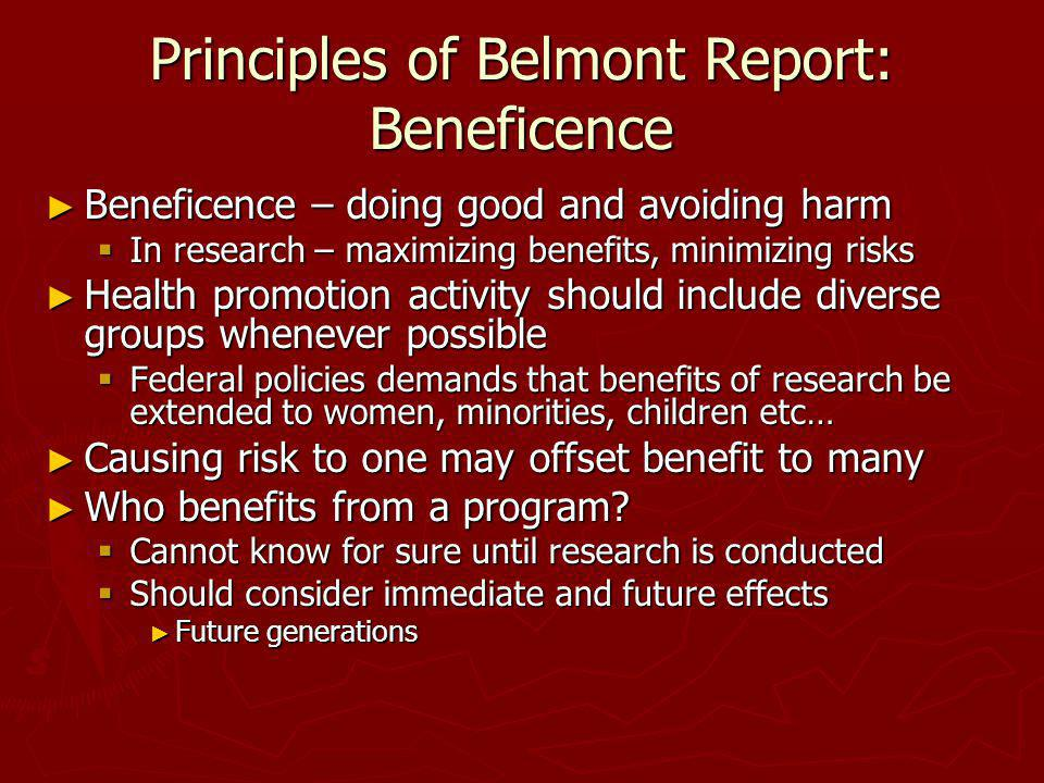 Principles of Belmont Report: Beneficence