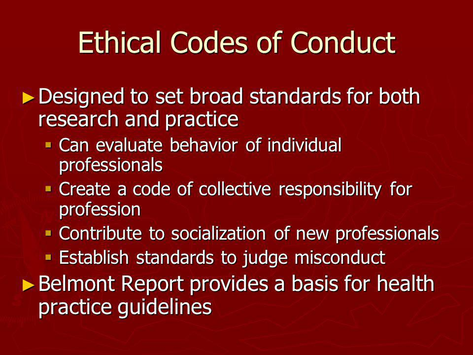 Ethical Codes of Conduct