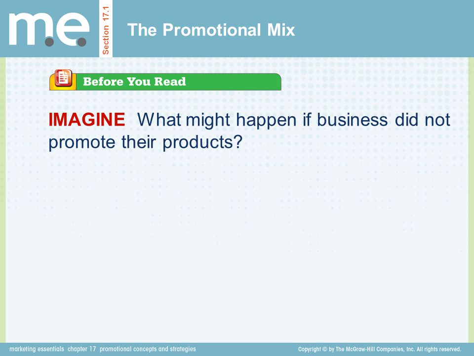 IMAGINE What might happen if business did not promote their products