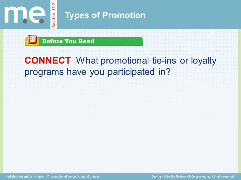 Types of Promotion Section 17.2.
