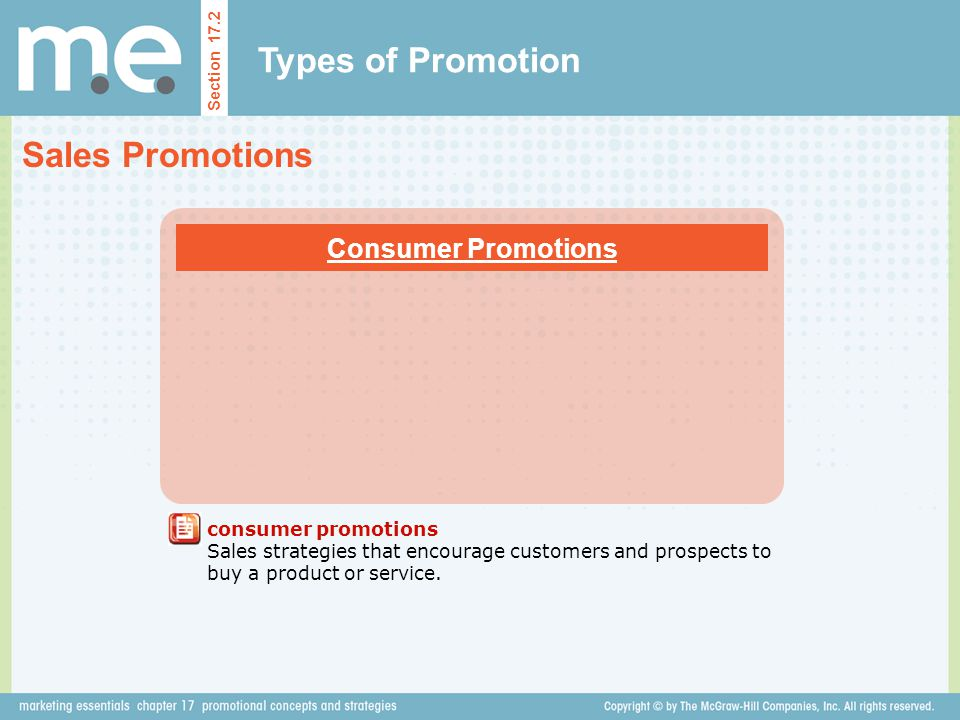 Types of Promotion Sales Promotions Consumer Promotions