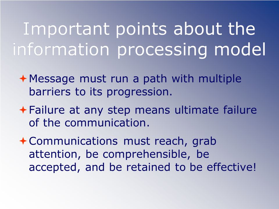 Important points about the information processing model