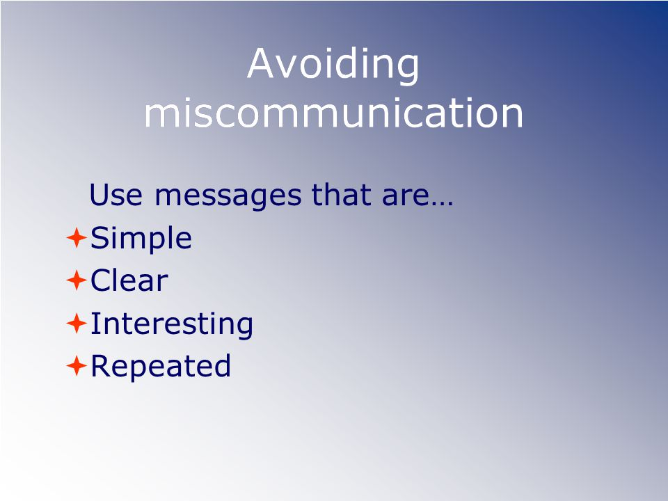 Avoiding miscommunication