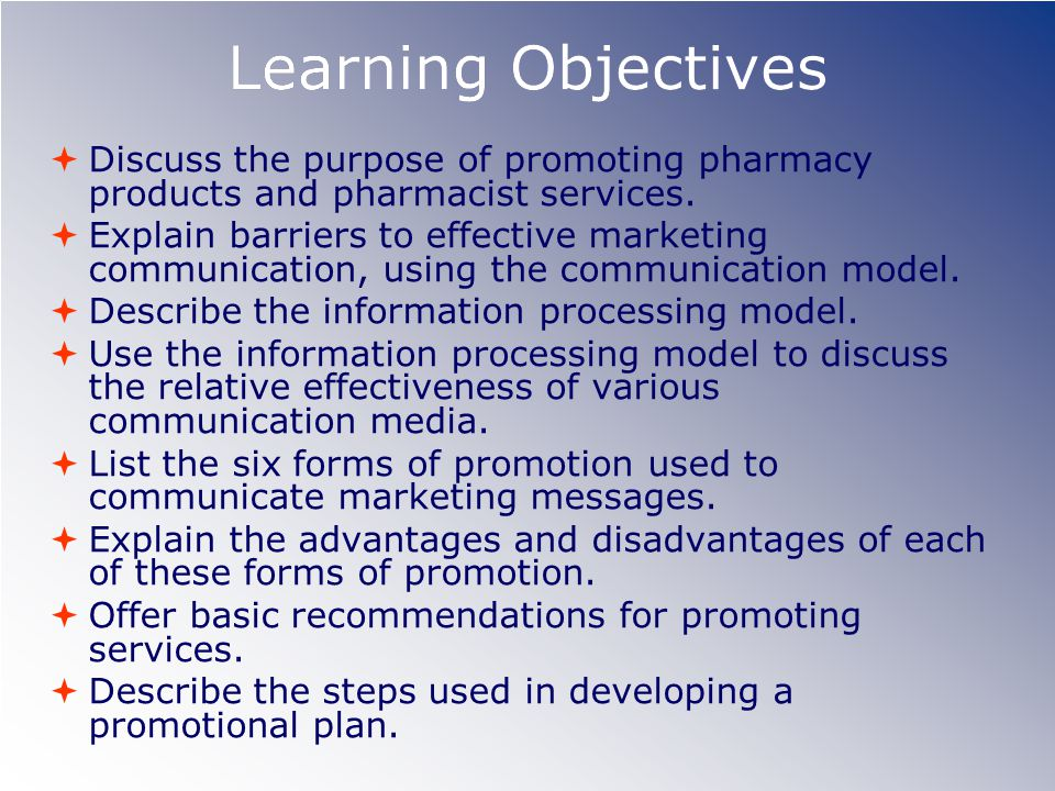 Learning Objectives Discuss the purpose of promoting pharmacy products and pharmacist services.