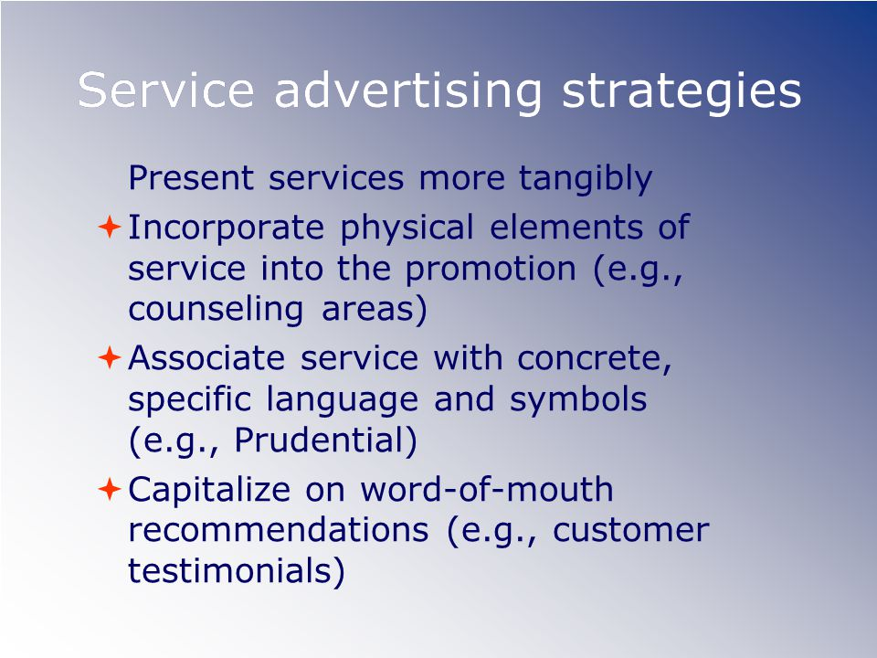 Service advertising strategies