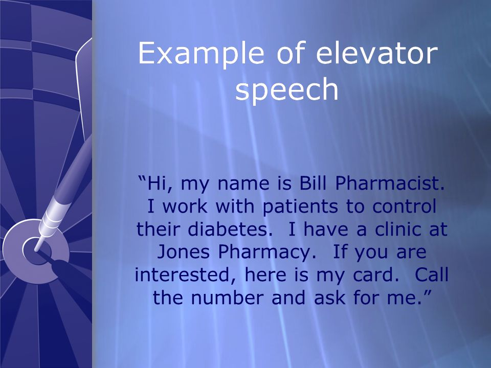 Example of elevator speech