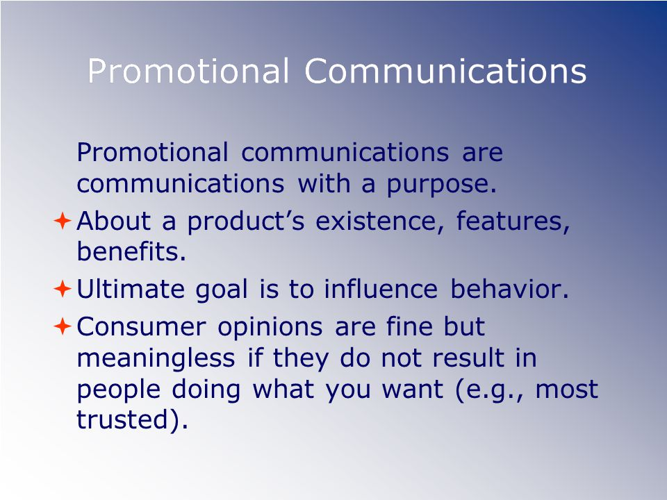 Promotional Communications