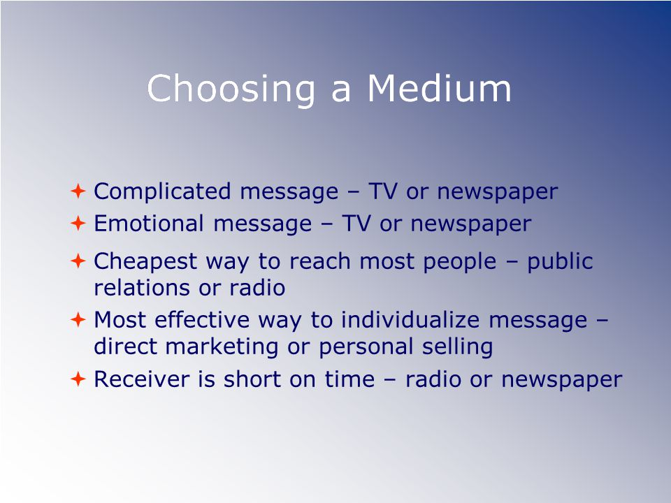Choosing a Medium Complicated message – TV or newspaper