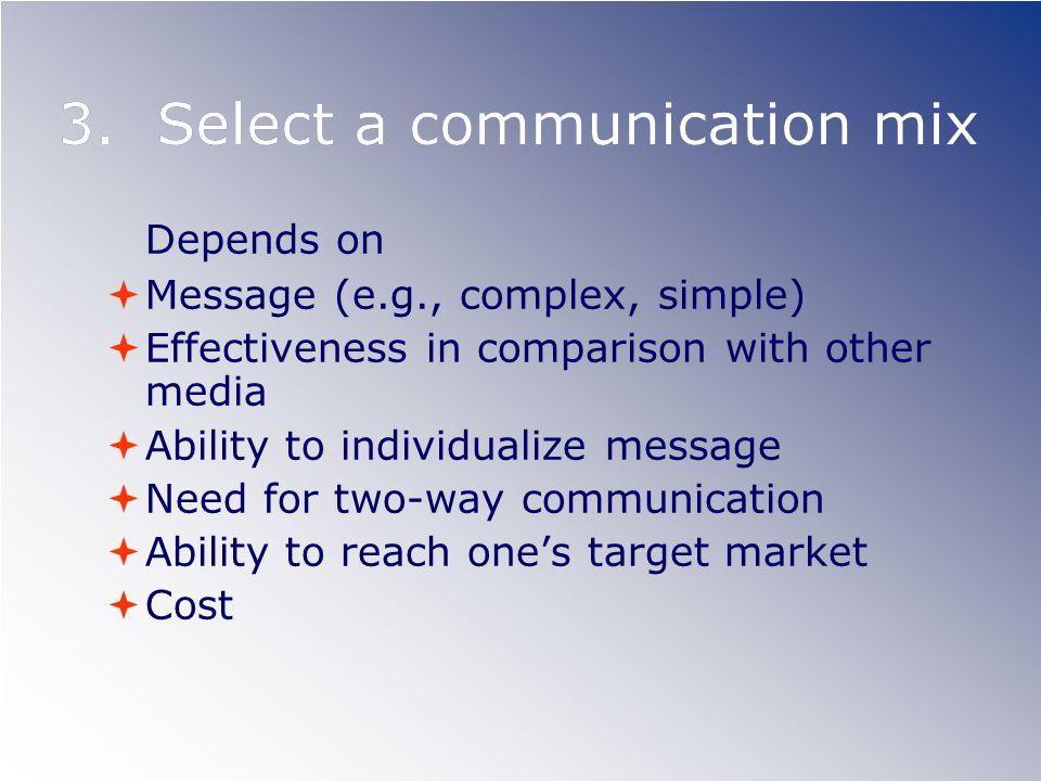 3. Select a communication mix