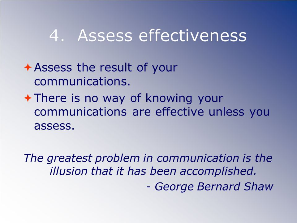 4. Assess effectiveness Assess the result of your communications.