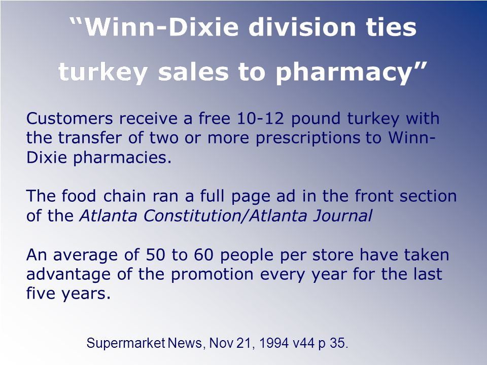 Winn-Dixie division ties turkey sales to pharmacy