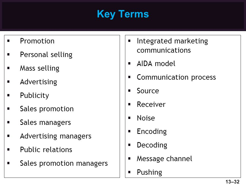 Key Terms Promotion Personal selling Mass selling Advertising
