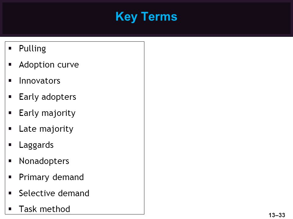Key Terms Pulling Adoption curve Innovators Early adopters