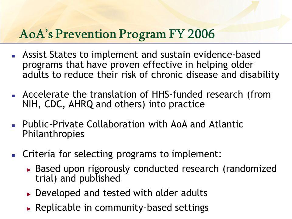 AoA's Prevention Program FY 2006