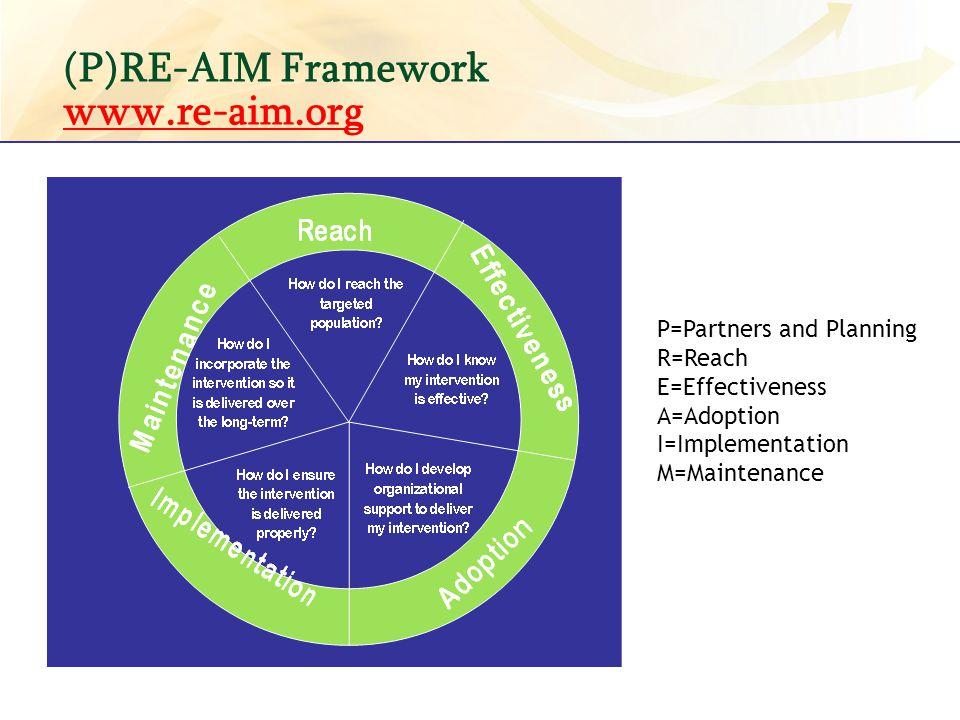 (P)RE-AIM Framework www.re-aim.org