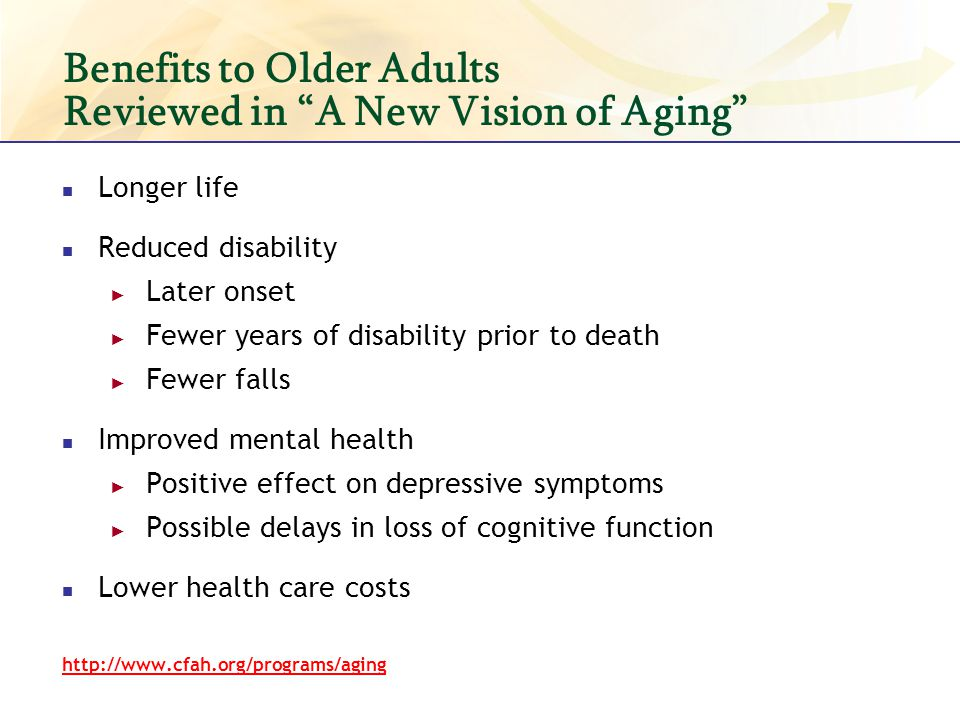 Benefits to Older Adults Reviewed in A New Vision of Aging