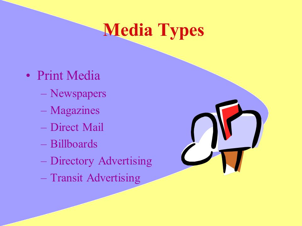 Media Types Print Media Newspapers Magazines Direct Mail Billboards