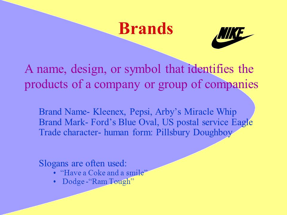 Brands A name, design, or symbol that identifies the