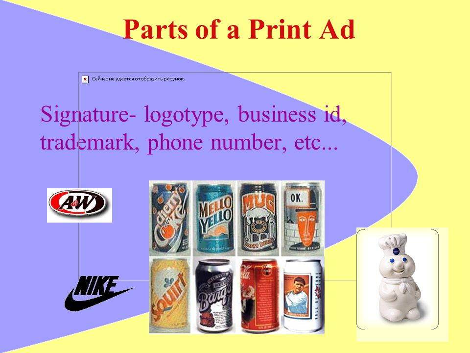 Parts of a Print Ad Signature- logotype, business id,