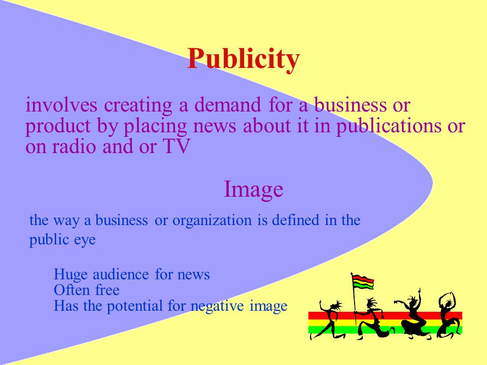 Publicity Image involves creating a demand for a business or