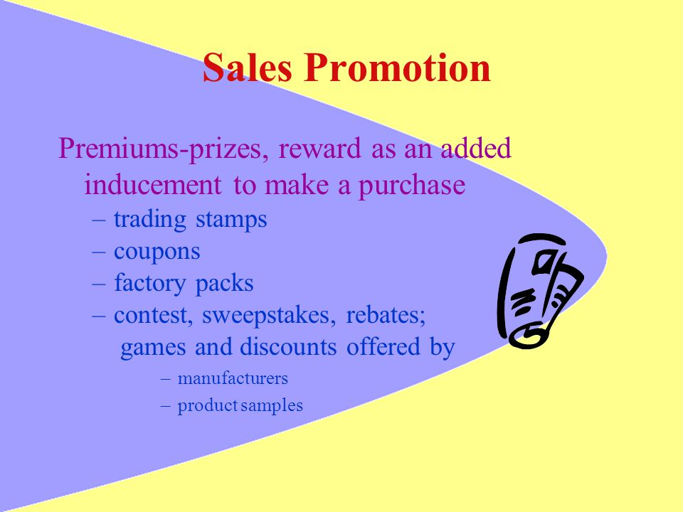 Sales Promotion Premiums-prizes, reward as an added inducement to make a purchase. trading stamps.