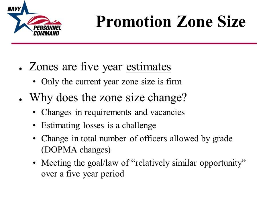Promotion Zone Size Zones are five year estimates