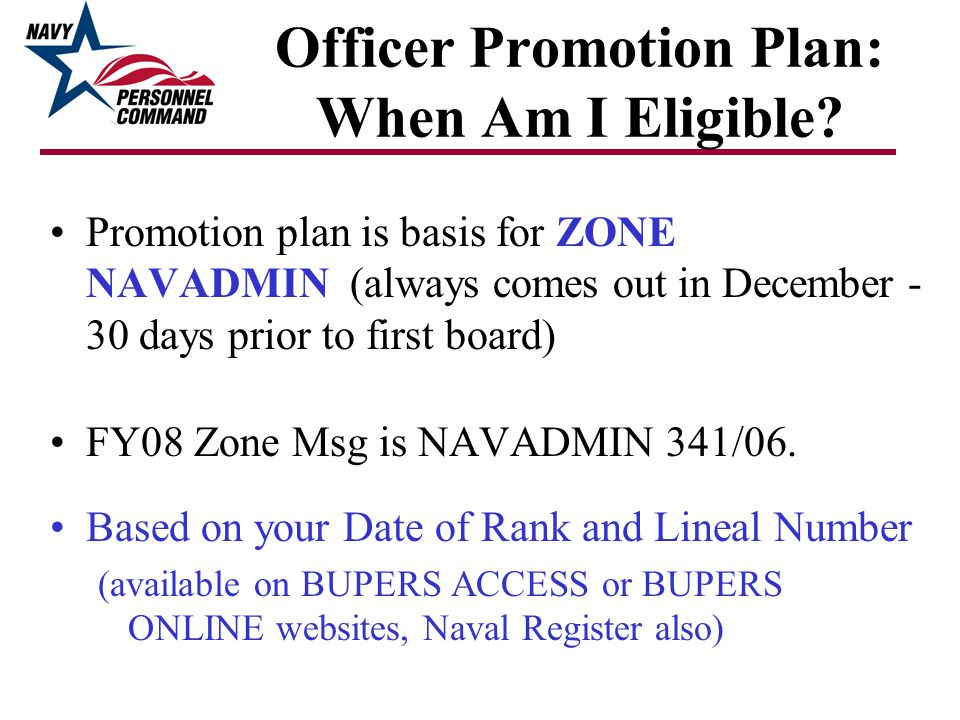Officer Promotion Plan: When Am I Eligible