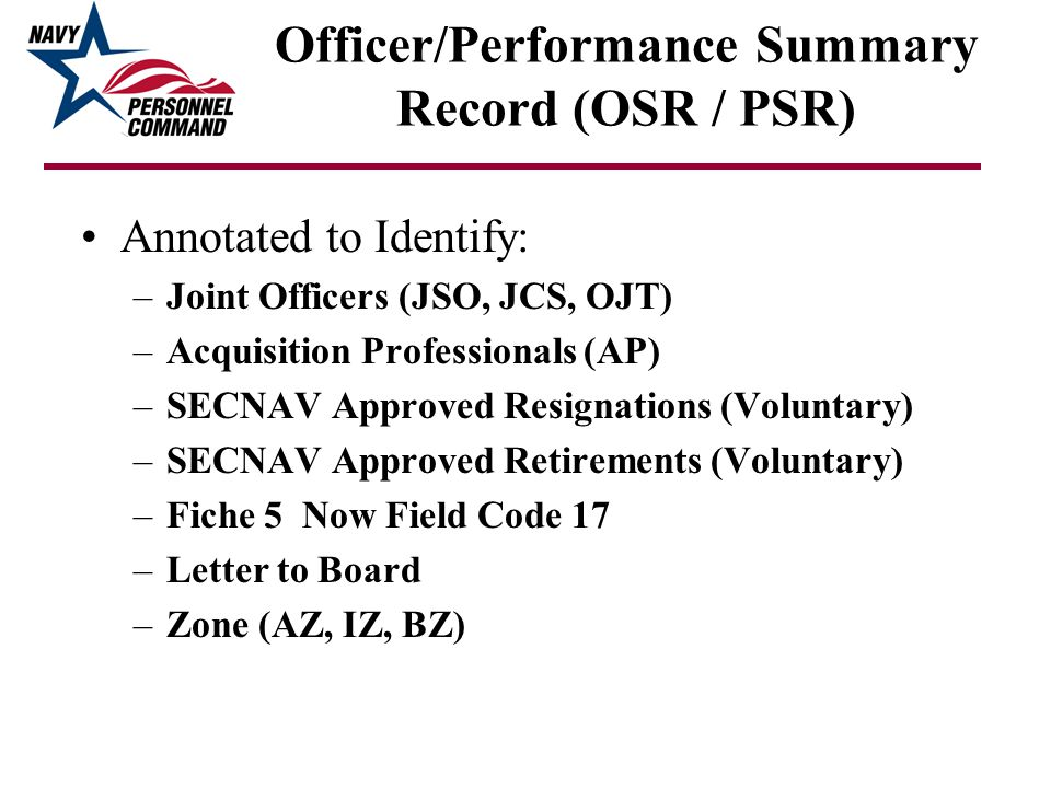 Officer/Performance Summary Record (OSR / PSR)