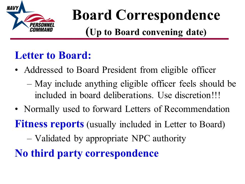 Board Correspondence (Up to Board convening date)