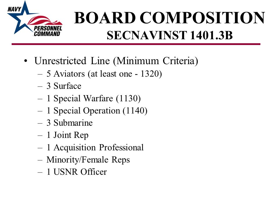 BOARD COMPOSITION SECNAVINST 1401.3B