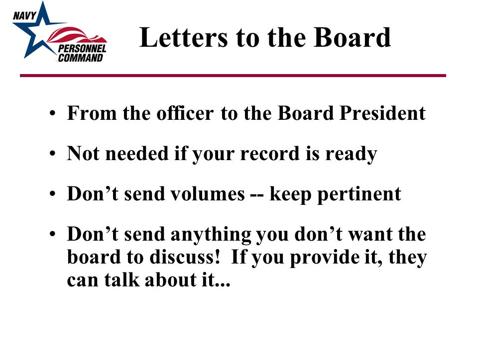 Letters to the Board From the officer to the Board President