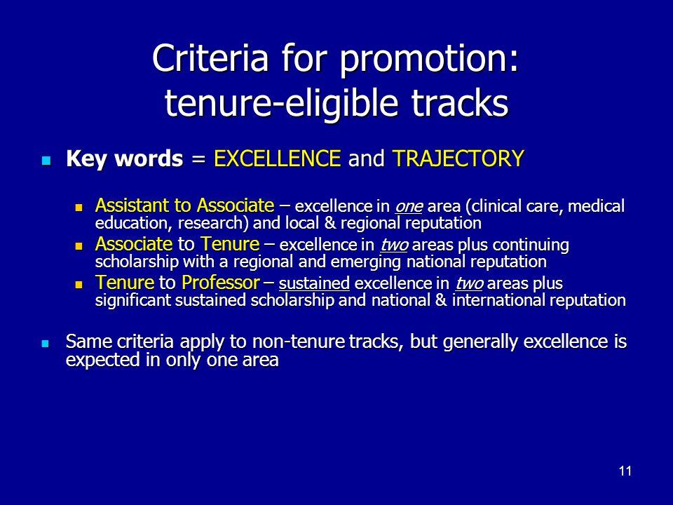 Criteria for promotion: tenure-eligible tracks