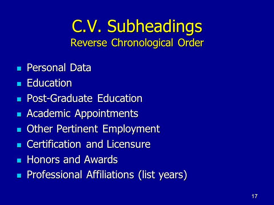 C.V. Subheadings Reverse Chronological Order