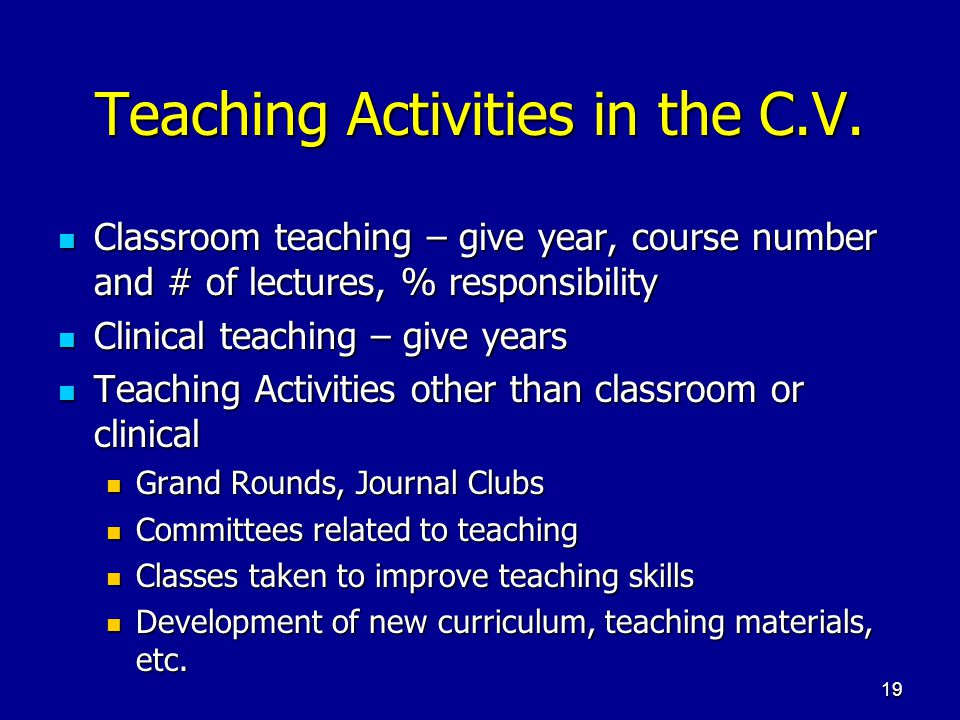 Teaching Activities in the C.V.