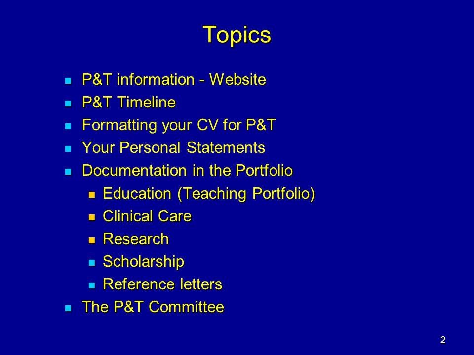 Topics P&T information - Website P&T Timeline
