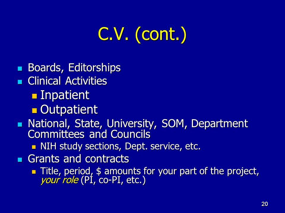 C.V. (cont.) Inpatient Outpatient Boards, Editorships