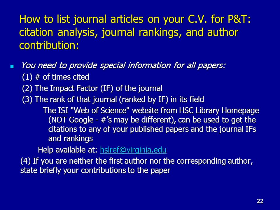 How to list journal articles on your C. V