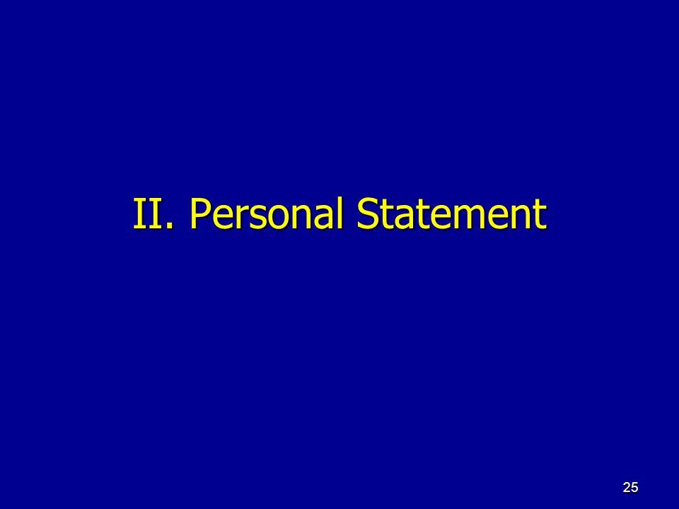 II. Personal Statement