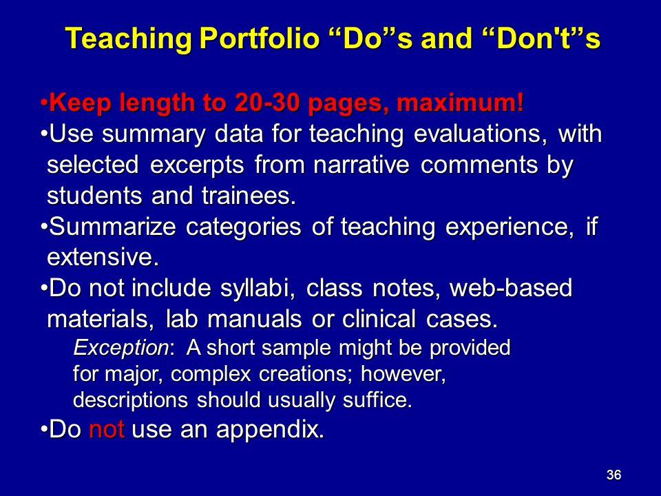 Teaching Portfolio Do s and Don t s